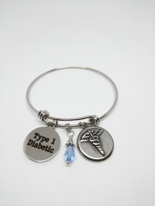 Diabetes Awareness Stainless Steel Expandable Bangle - A Tad Too Sweet