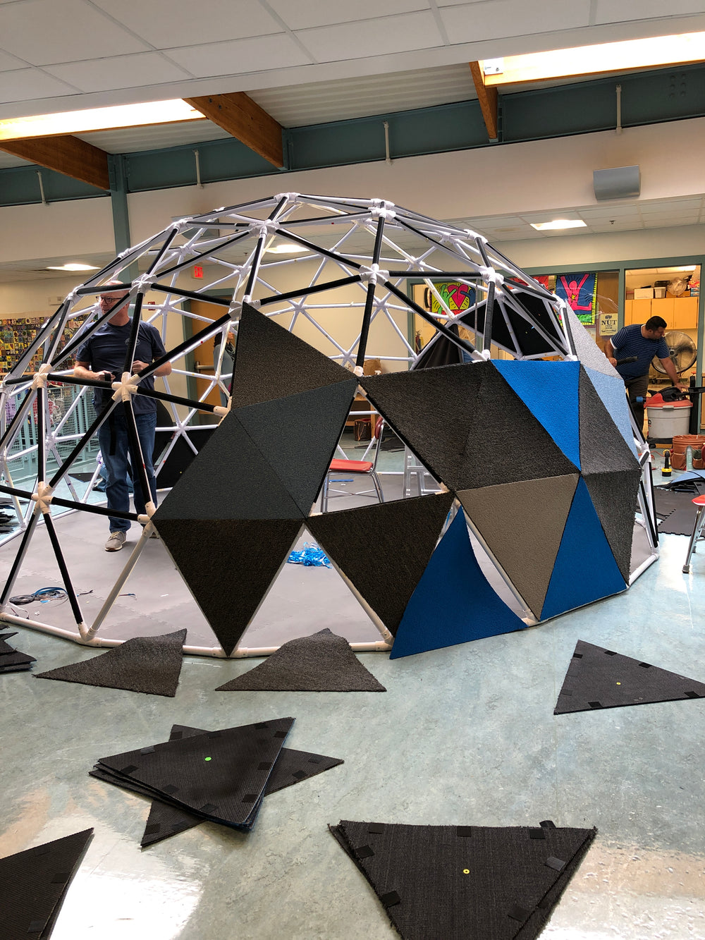 Geodesic Dome Structure being used for video production.