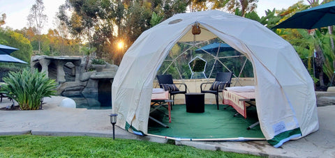 Sonostar Hub Mini-Glamping Dome set up in backyard