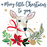 Beautiful painted design christmas card, including a deer illustration with a red bow, with the words A merry little christmas to you