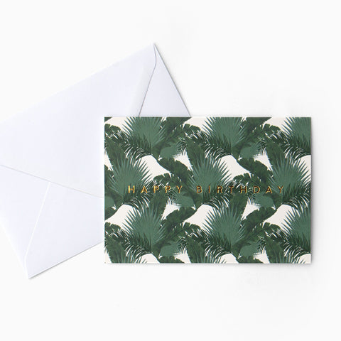 Tuppence Collective Dark Tropical Leaf Birthday Card, botanical greeting card, gold foil