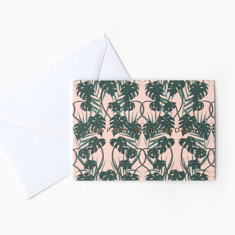 Tuppence Collective Tropical Pink Tree Birthday Card