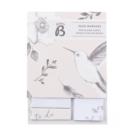 Busy B Bride to B Romance Wedding Sticky Notes, Floral and bird design