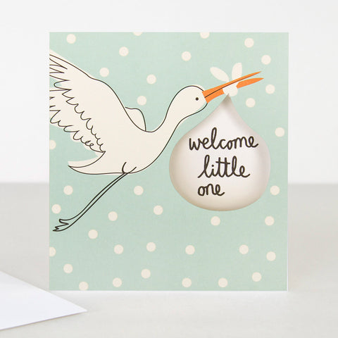 Caroline Gardner Lunette Stalk Welcome Little One Baby Boy Card