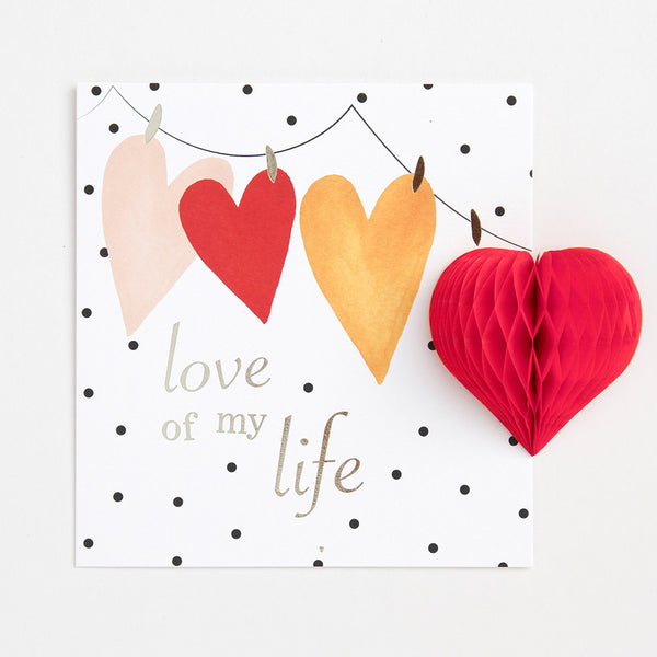 Caroline Gardner Pom Pom Love of My Life Card, anniversary card, loved one, romantic husband wife boyfriend girlfriend card
