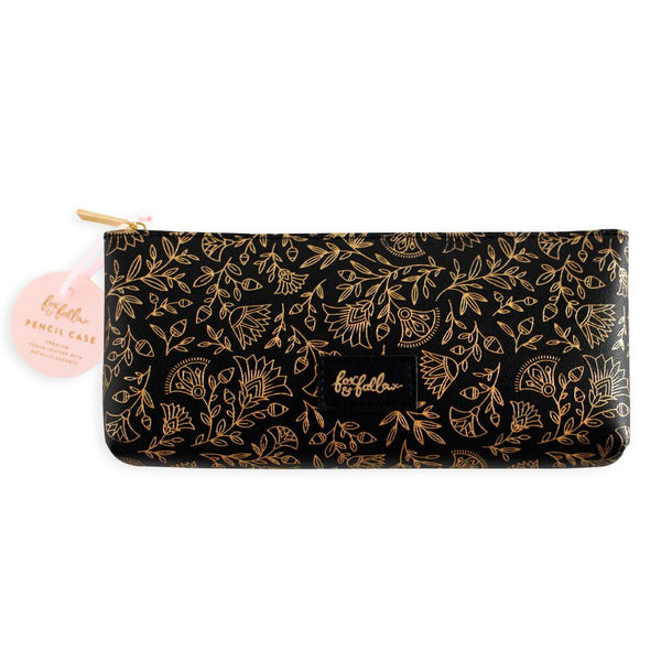 Fox and Fallow Black Obsidian Vegan Leather Pencil Case, pouch, makeup bag