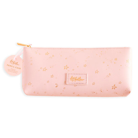 Fox and Fallow Pink Stardust Pencil Case, galaxy stars gold foil pattern pouch