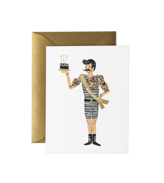 Rifle Paper Co. Tattooed man Strong Man Birthday Card, birthday card for him, Husband, brother, dad, birthday card