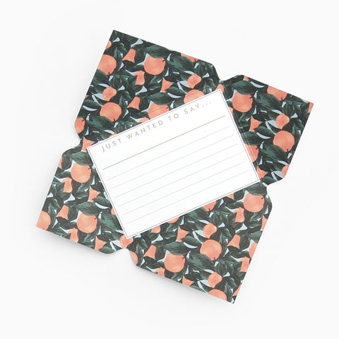 Tuppence Collective Orange Fruit Pattern Telegram Card, fold and mail greeting card, letter writing