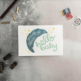 "Hunter Paper Co Goodbye Sleep, Hello Baby Greeting Card This card has a beautiful illustration of moon and stars with the words ""goodbye sleep, hello baby"" is perfect to welcome the new baby. New Baby, Luxury greeting card, Congratulations pregnancy, maternity leave card."