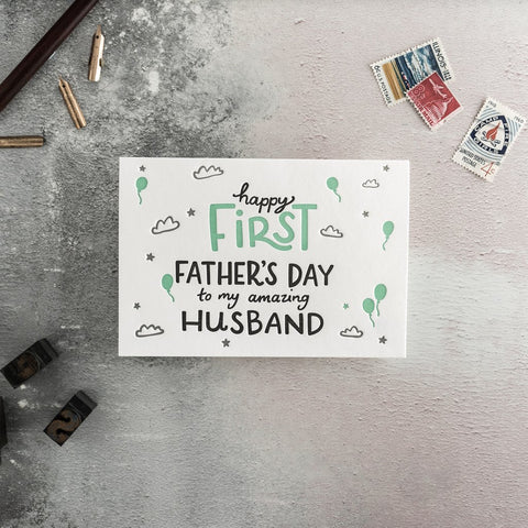 "Hunter Paper Co Happy First Father's Day to my Amazing Husband Greeting Card This beautiful card with the words ""Happy First Father's Day to my Amazing Husband"" is perfect to celebrate your husband's first Father's Day  Card is printed on a letter press, New dad card"