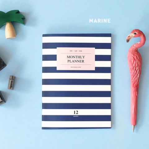 Iconic A6 Monthly Planner V2. in Marine