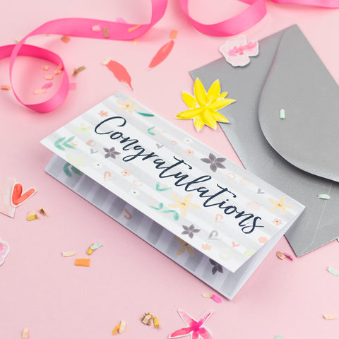 Katie Phythian Congratulations Money Wallet Card, gift wallet, luxury greeting card