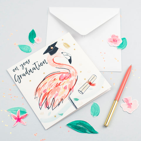 Katie Phythian Flamingo On Your Graduation Card