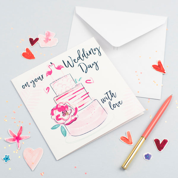Katie Phythian Flamingos Cake On Your Wedding Day Card