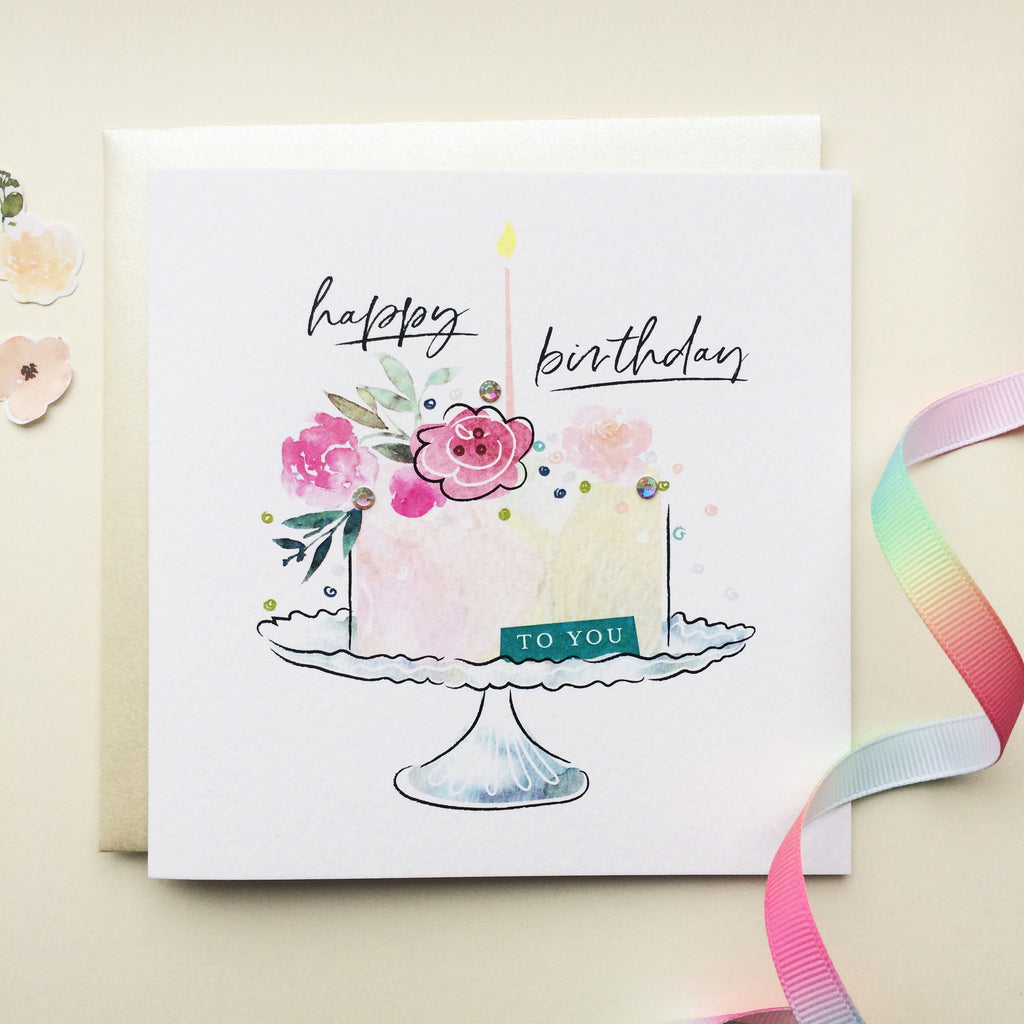 Brilliant Katie Phythian Happy Birthday Cake Card Lilly And Thorn Funny Birthday Cards Online Fluifree Goldxyz