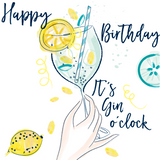 Katie Phythian It's Gin O'Clock Happy Birthday Card, gin with lemon illustrated greetings card