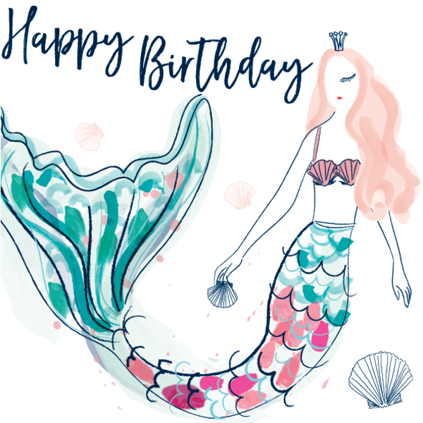 Katie Phythian Mermaid Happy Birthday Card