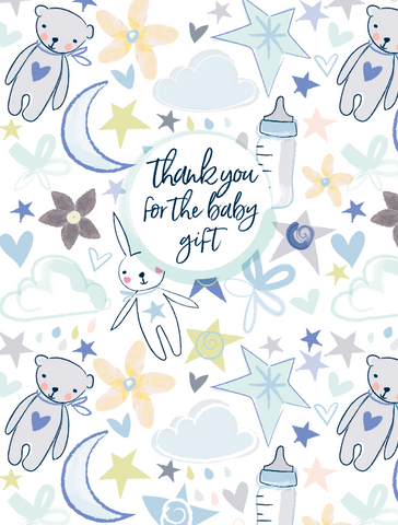 Katie Phythian Thank You Baby Boy Teddies Notecard Set