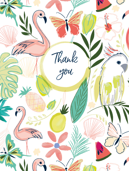 Katie Phythian Tropical Thank You Notecard Set Flamingo Parrot leaves