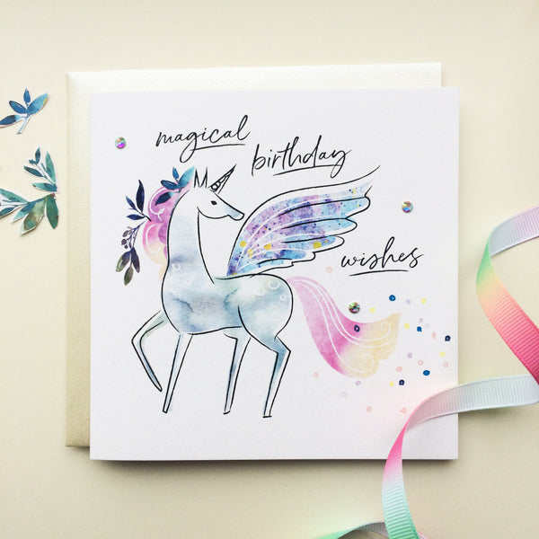 Katie Phythian Unicorn Magical Birthday Wishes Card, watercolour painted design with holographic gem details