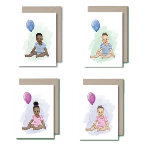 KitsCH Noir Black Baby Boy and Girl Greeting Card