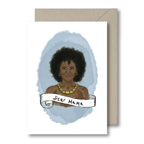 KitsCH Noir Dear Mama Card The ideal greeting card for that special and magical woman you want to celebrate.  Card is blank inside and comes with a brown envelope, black mothers day card, luxury greeting card