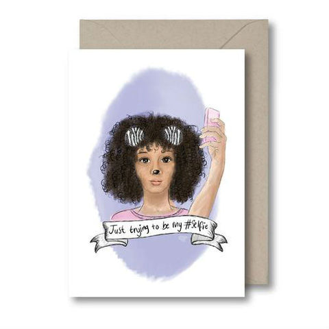 KitsCH Noir Just Trying To Be My #Selfie Card Do you know a female that loooooves all the cute little filters? This Card is perfect for every Instagram and snapchat lover. Black Girls Greeting Cards, Diverse, brown greeting Cards.