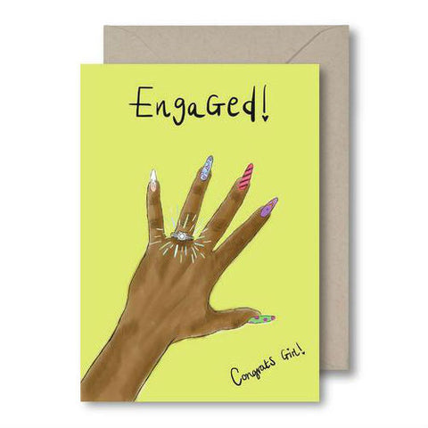 KitsCH Noir Engaged- Congrats Girl! Card. Black Girl Cards, Brown Girl Cards, Diverse greeting cards.