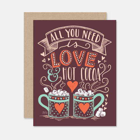 Lily and Val All You Need is Love and Hot Coco Christmas Card