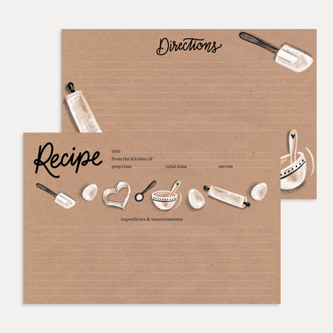 Lily and Val Kraft Paper Baking Recipe Cards