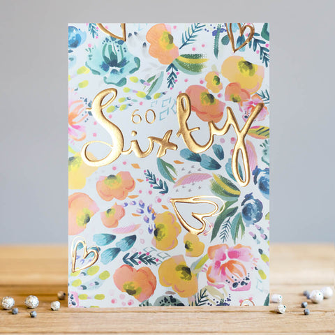 Louise Tiler 60th Birthday Flowers Card