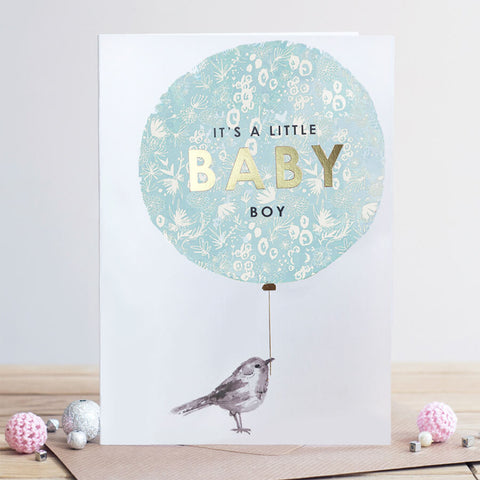 Louise Tiler Baby Boy Balloon New Baby Card