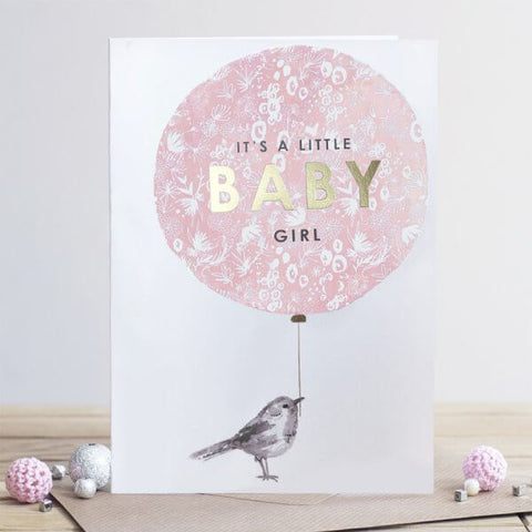 Louise Tiler Baby Girl Balloon New Baby Card