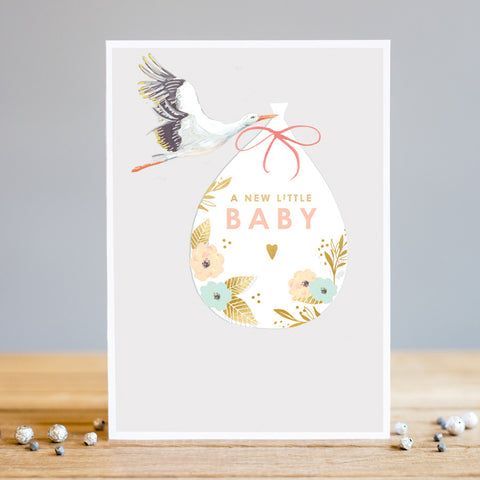 Louise Tiler Baby Stork New Baby Card