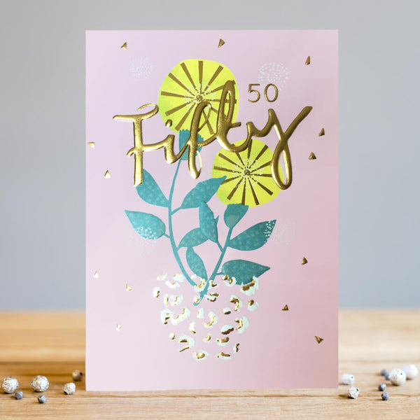 Louise Tiler 50th Flower Vase Birthday Card