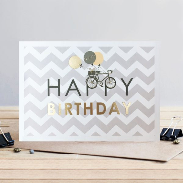 Louise Tiler Gold Bike Happy Birthday Card