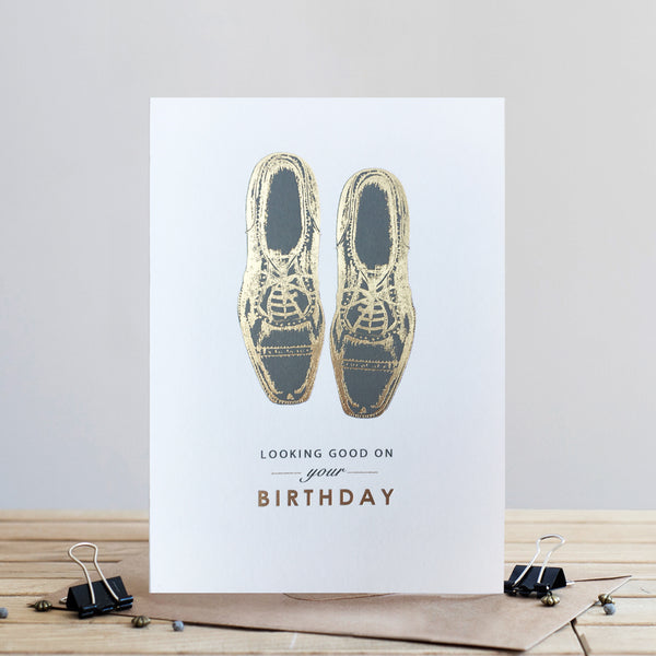 Louise Tiler Gold Shoes Birthday Card