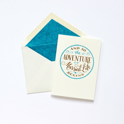 Meticulous Ink Adventure of Married Life Wedding Card