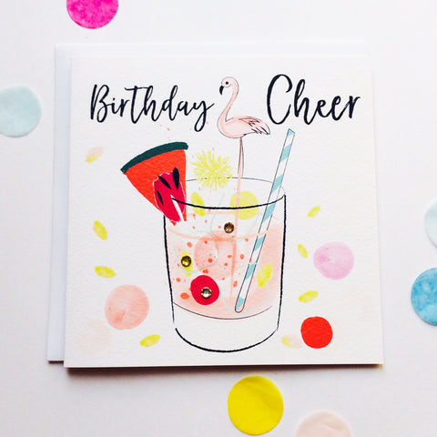 Katie Phythian Tropical Cocktail Birthday Cheer Card