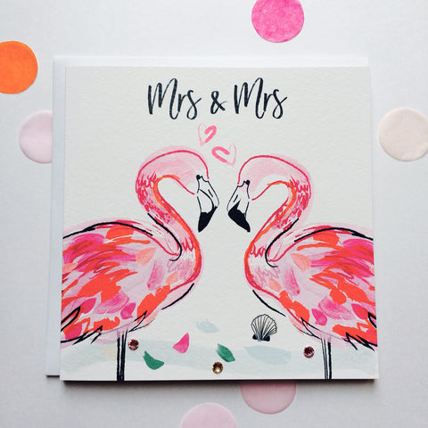 Katie Phythian Flamingos Mrs & Mrs Wedding Card