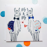 Katie Phythian Llamas Mr & Mr Wedding Card, with a blue and grey Llama dressed up as in bow ties, Same sex, gay marriage card. luxury stationery greeting card, special, unique, cute, animal, fun, alpaca. Fast delivery, next day.