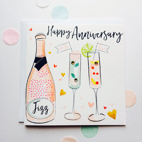 Katie Phythian Cocktails Happy Anniversary Card