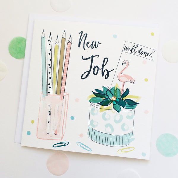 Katie Phythian Cards, Katie Phythian New Job Card, beautiful illustrated card, hand painted design, with the words New Job Well Done on it.