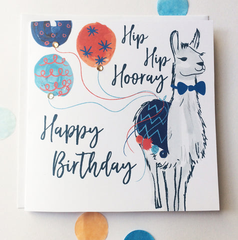 Katie Phythian Llama Hip Hip Hooray Happy Birthday Card