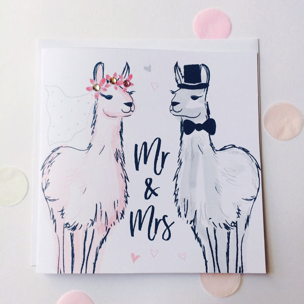 Katie Phythian Llamas Mr & Mrs Wedding Card, with a pink and grey Llama dressed up as bride and groom. luxury stationery greeting card, special, unique, cute, animal, fun, alpaca. Fast delivery, next day.