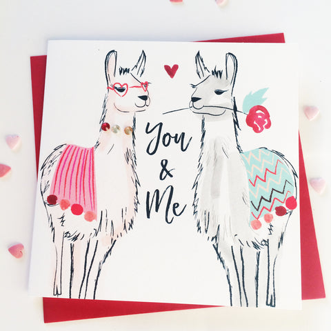 Katie Phythian You and Me Llamas in love Greeting Card, anniversary card, valentines day card, I love you card, luxury greeting card