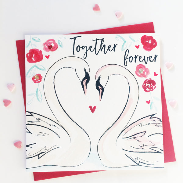 Katie Phythian Together Forever Swans in Love Greeting Card This beautifully designed card is perfect for wish someone special a happy anniversary or valentines.  Card is blank inside and includes a blank envelope. Anniversary card, husband card, wife card, Valentines day card, Luxury greeting card