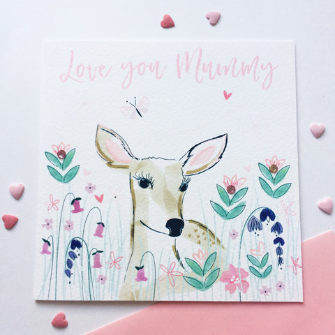 Katie Phythian Love You Mummy Deer Greeting Card This beautifully designed card is perfect to let your Mum know how special she is.  Card is blank inside and includes a pink envelope. Cute Animal card, Bambi greeting card, Mothers day card, Luxury greeting card