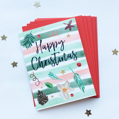 Katie Phythian Happy Christmas Decorations Card Pack